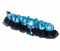 Aqua Sequin & Satin Wedding Garter